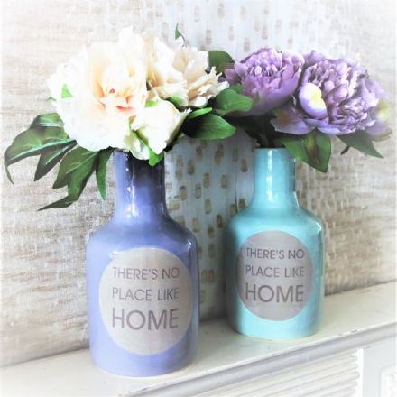 50% Off Beautiful Pastel Ceramic Vase- There's No Place Like Home